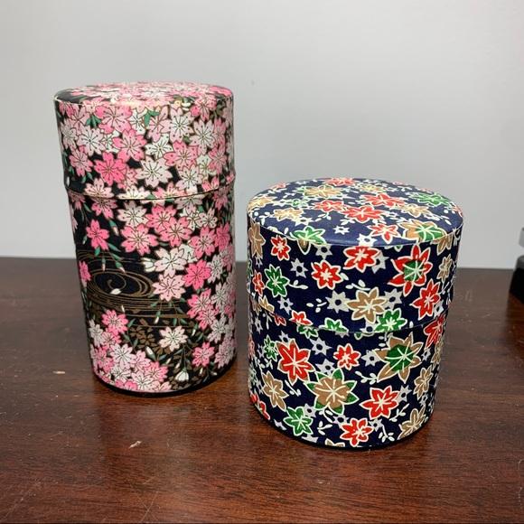 Set of 2 Japanese Tins Washi Tea Tin